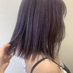 バイオレットカラー ブルーバイオレット ガーリー ラベンダーグレー ヘアスタイルや髪型の写真・画像