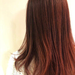 レッド チェリーレッド カシスレッド レッドブラウン ヘアスタイルや髪型の写真・画像