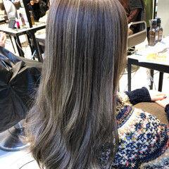 コントラストハイライト セミロング 大人ハイライト 極細ハイライト ヘアスタイルや髪型の写真・画像