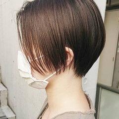 ショート 黒髪ショート ナチュラル ショートボブ ヘアスタイルや髪型の写真・画像