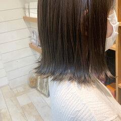透明感 ブルーアッシュ ボブ アッシュグレー ヘアスタイルや髪型の写真・画像