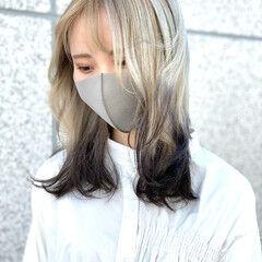 グラデーションカラー 裾カラー フェミニン ホワイトグラデーション ヘアスタイルや髪型の写真・画像