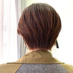 ミニボブ オレンジ 大人可愛い ショートヘア ヘアスタイルや髪型の写真・画像