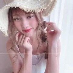 編みおろし ヘアアレンジ 夏 フェミニン ヘアスタイルや髪型の写真・画像