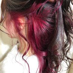 ブリーチカラー ストリート カラートリートメント インナーピンク ヘアスタイルや髪型の写真・画像