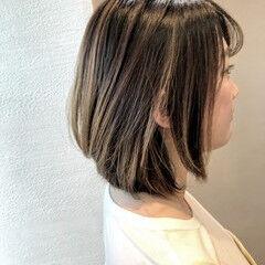 可愛い ボブ ベージュ 似合わせ ヘアスタイルや髪型の写真・画像