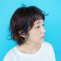 大人女子 モード ショートバング ショート ヘアスタイルや髪型の写真・画像