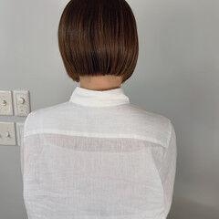 シンプル カジュアル ミニボブ ショートボブ ヘアスタイルや髪型の写真・画像