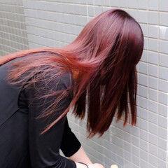 ボルドーヘア ブリーチオンカラー ブリーチ必須 モード ヘアスタイルや髪型の写真・画像
