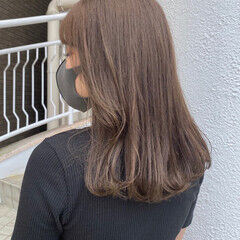 ミルクティーグレージュ ブリーチなし ベージュカラー ミルクティーベージュ ヘアスタイルや髪型の写真・画像