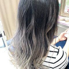 ハイライト グラデーションカラー ガーリー ホワイトハイライト ヘアスタイルや髪型の写真・画像