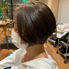 ナチュラル センター分け ショートボブ レイヤーボブ ヘアスタイルや髪型の写真・画像