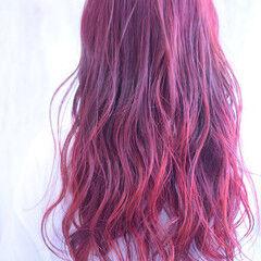 カラーバター 外国人風カラー ロング レッドカラー ヘアスタイルや髪型の写真・画像