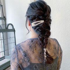 編みおろし 二次会 ロング 二次会ヘア ヘアスタイルや髪型の写真・画像