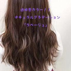 ラベージュ ロング コテ巻き 透明感カラー ヘアスタイルや髪型の写真・画像