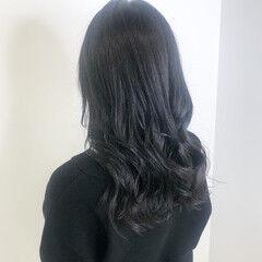 ブルーブラック 暗髪 ブルージュ ナチュラル ヘアスタイルや髪型の写真・画像