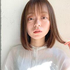 ミニボブ 切りっぱなしボブ ナチュラル 透明感カラー ヘアスタイルや髪型の写真・画像
