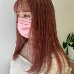 ピンクカラー コーラルピンク ピンクラベンダー ピンクベージュ ヘアスタイルや髪型の写真・画像