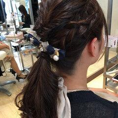 ローポニーテール 簡単ヘアアレンジ ショート 結婚式 ヘアスタイルや髪型の写真・画像