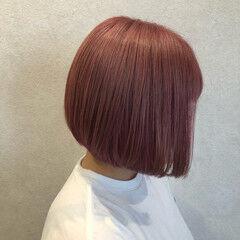 ラベンダーピンク ピンクベージュ ダブルカラー ピンク ヘアスタイルや髪型の写真・画像
