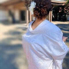 ブライダル 和装ヘア フェミニン セミロング ヘアスタイルや髪型の写真・画像