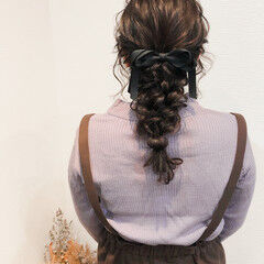 編みおろし 編み込み セミロング ヘアアレンジ ヘアスタイルや髪型の写真・画像