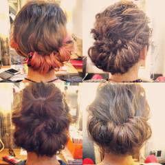 編み込み 大人かわいい アップスタイル ナチュラル ヘアスタイルや髪型の写真・画像