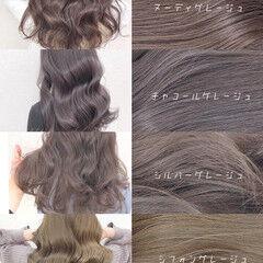 イルミナカラー グレージュ ブリーチなし ナチュラル ヘアスタイルや髪型の写真・画像