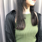 暗髪女子 セミロング 暗髪 切りっぱなし