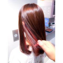 ミディアム イルミナカラー エレガント インナーカラー ヘアスタイルや髪型の写真・画像