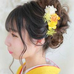 ガーリー セミロング ヘアアレンジ 結婚式ヘアアレンジ ヘアスタイルや髪型の写真・画像
