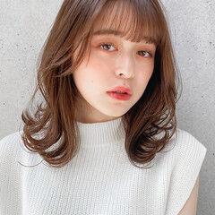 デジタルパーマ 愛され モテ髪 ミディアムレイヤー ヘアスタイルや髪型の写真・画像