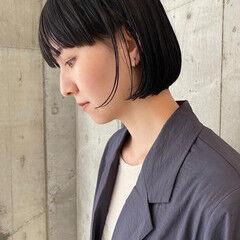 リップライン ミニボブ ボブ 黒髪 ヘアスタイルや髪型の写真・画像