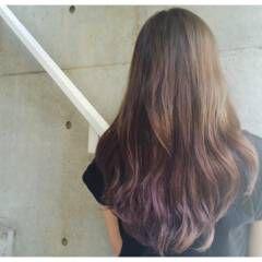 ラベンダーアッシュ ストリート グラデーションカラー ロング ヘアスタイルや髪型の写真・画像