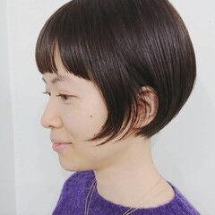 ナチュラル ショートボブ ミニボブ 前髪 ヘアスタイルや髪型の写真・画像