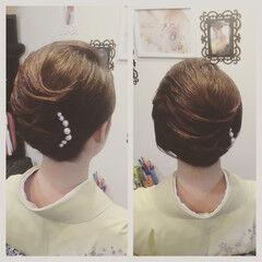 パールアクセ 和服 和装 大人かわいい ヘアスタイルや髪型の写真・画像