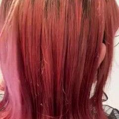 ガーリー レッドブラウン チェリーレッド カシスレッド ヘアスタイルや髪型の写真・画像