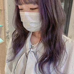 韓国ヘア ハイトーンカラー ロング ラベンダー ヘアスタイルや髪型の写真・画像