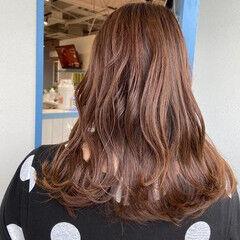 セミロング うる艶カラー 艶髪 エレガント ヘアスタイルや髪型の写真・画像
