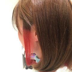 モード ボブ インナーカラー レッド ヘアスタイルや髪型の写真・画像
