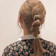 編みおろし ストリート ポニーアレンジ ヘアアレンジ ヘアスタイルや髪型の写真・画像