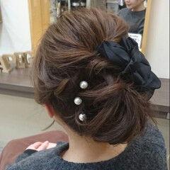 ヘアアレンジ くるりんぱ ミディアム 謝恩会 ヘアスタイルや髪型の写真・画像