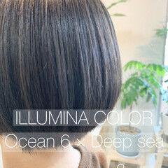 ショートボブ フェミニン ボブ イルミナカラー ヘアスタイルや髪型の写真・画像
