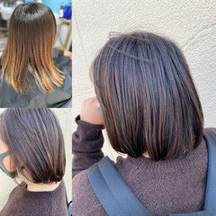 ミディアム ショートヘア インナーカラー エクステ ヘアスタイルや髪型の写真・画像