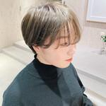 透明感カラー ショート ミルクティー ショートヘア