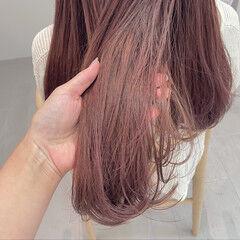 ピンクブラウン ピンクラベンダー コーラルピンク ロング ヘアスタイルや髪型の写真・画像