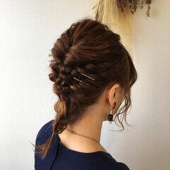 セミロング エレガント 編み込み ヘアアレンジ ヘアスタイルや髪型の写真・画像