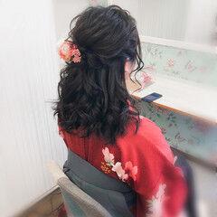 セミロング ヘアセット ヘアアレンジ フェミニン ヘアスタイルや髪型の写真・画像