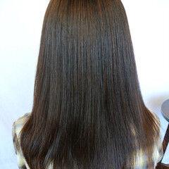 パーマ ロング ストレート ナチュラル ヘアスタイルや髪型の写真・画像