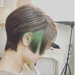 エメラルドグリーンカラー ショートヘア ベリーショート ストリート